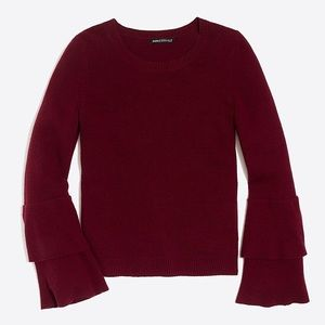 Burgundy Ruffle Sleeve Sweater